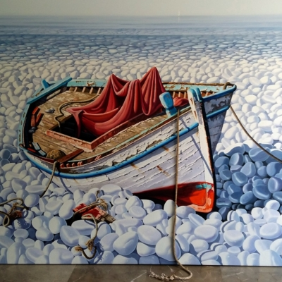 Sylvana Samartzidou Old white boat with red tissue